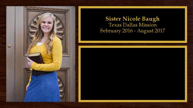 February 2016 to August 2017<br/>Sister Nicole Baugh
