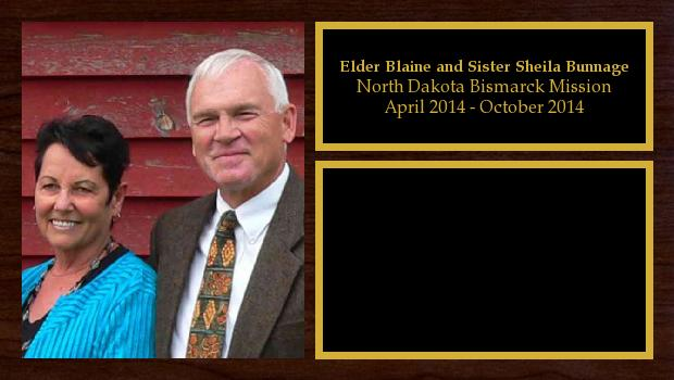 April 2014 to October 2014<br/>Elder Blaine and Sister Sheila Bunnage