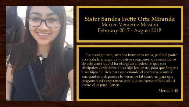 February 2017 to August 2018<br/>Sister Sandra Ivette Orta Miranda