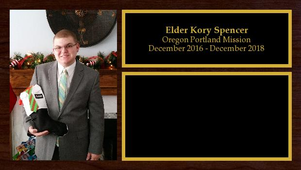 December 2016 to December 2018<br/>Elder Kory Spencer
