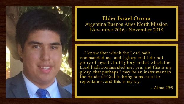 November 2016 to November 2018<br/>Elder Israel Orona