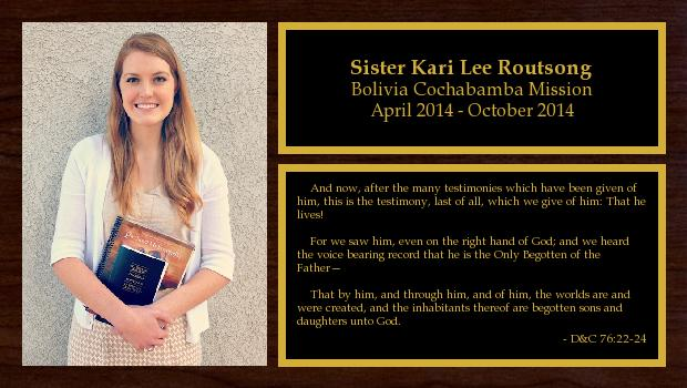 April 2014 to October 2014<br/>Sister Kari Lee Routsong