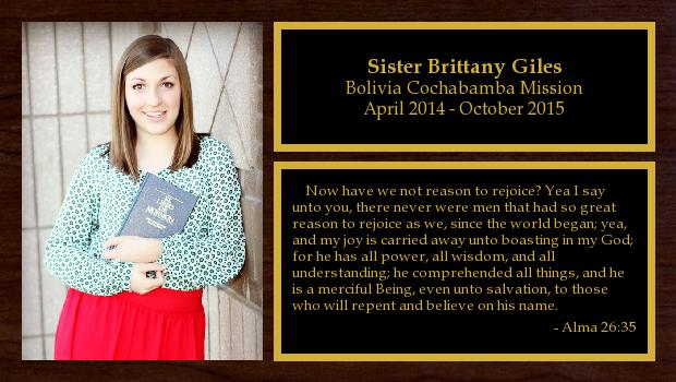 April 2014 to October 2015<br/>Sister Brittany Giles