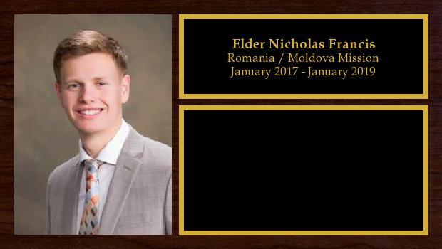 January 2017 to January 2019<br/>Elder Nicholas Francis