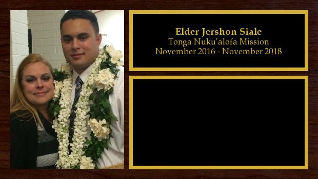 November 2016 to November 2018<br/>Elder Jershon Siale