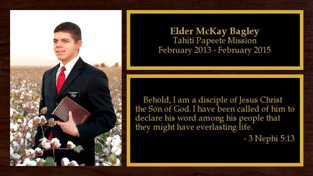 February 2013 to February 2015<br/>Elder McKay Bagley
