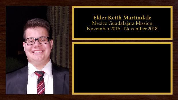 November 2016 to October 2018<br/>Elder Keith Martindale