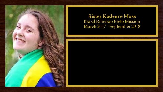 March 2017 to August 2018<br/>Sister Kadence Moss