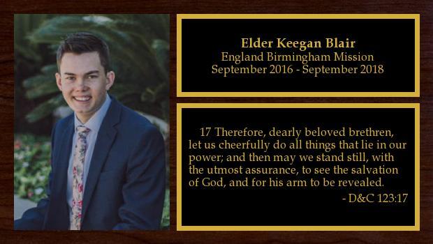 September 2016 to September 2018<br/>Elder Keegan Blair