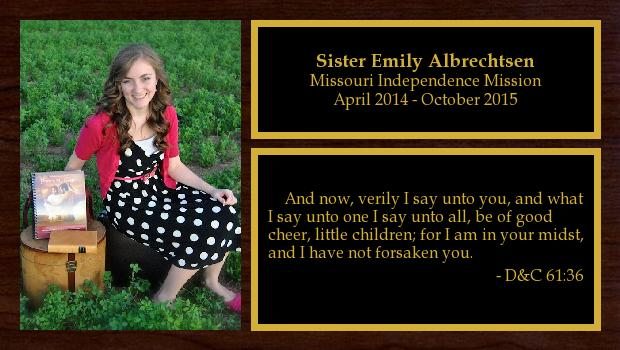 April 2014 to October 2015<br/>Sister Emily Albrechtsen