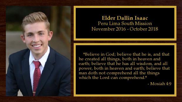 November 2016 to October 2018<br/>Elder Dallin Isaac