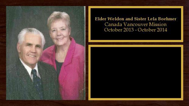 October 2013 to October 2014<br/>Elder Weldon and Sister Lela Boehmer
