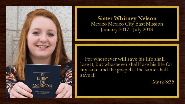 January 2017 to July 2018<br/>Sister Whitney Nelson
