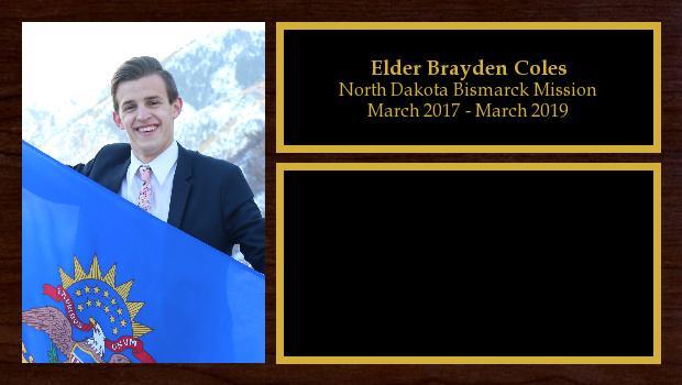 March 2017 to March 2019<br/>Elder Brayden Coles