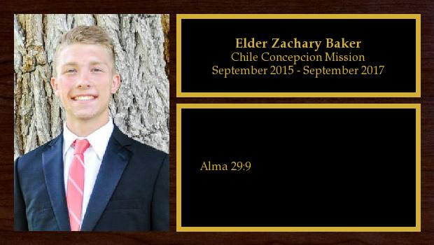 September 2015 to September 2017<br/>Elder Zachary Baker