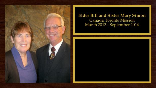 March 2013 to September 2014<br/>Elder Bill and Sister Mary Simon