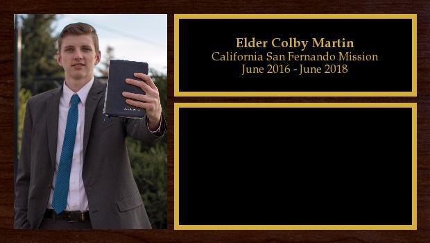 June 2016 to June 2018<br/>Elder Colby Martin