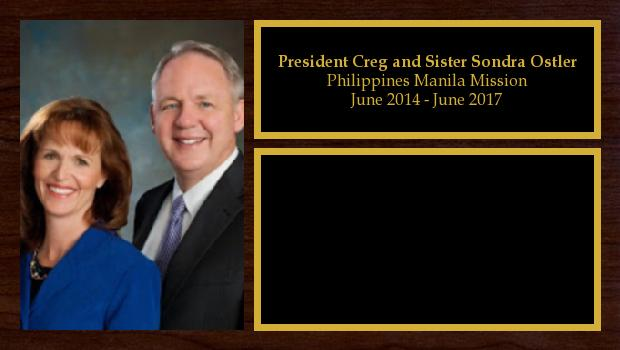 June 2014 to July 2017<br/>President Creg and Sister Sondra Ostler