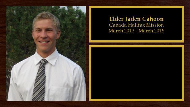 March 2013 to March 2015<br/>Elder Jaden Cahoon