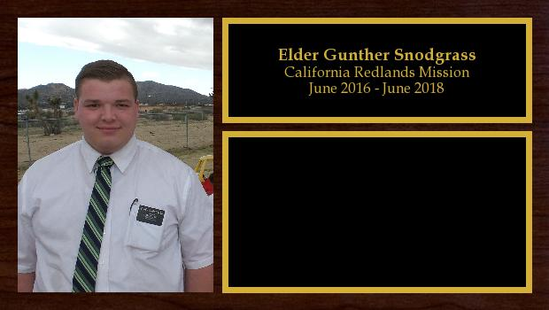 June 2016 to June 2018<br/>Elder Gunther Snodgrass