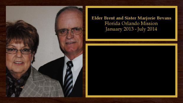 January 2013 to July 2014<br/>Elder Brent and Sister Marjorie Bevans