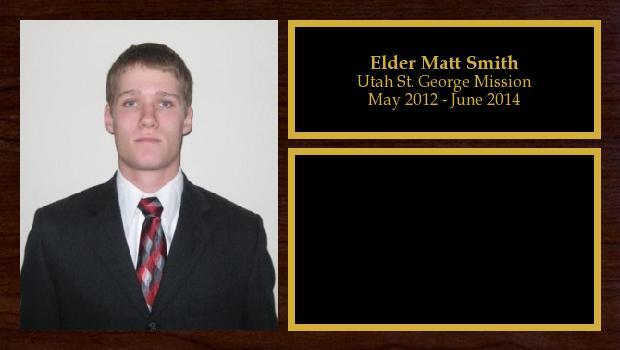 May 2012 to June 2014<br/>Elder Matt Smith