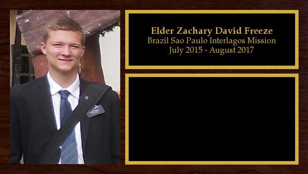 July 2015 to August 2017<br/>Elder Zachary David Freeze
