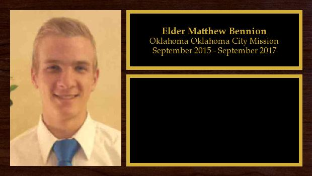 September 2015 to September 2017<br/>Elder Matthew Bennion
