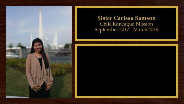 September 2017 to March 2019<br/>Sister Carissa Samson