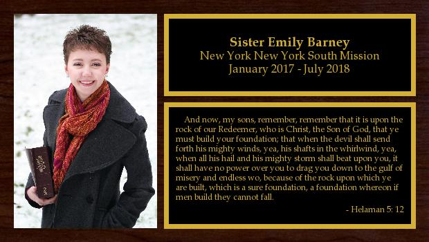 January 2017 to July 2018<br/>Sister Emily Barney