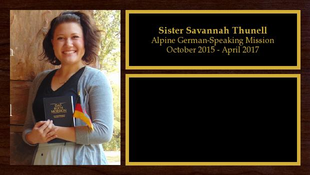 October 2015 to April 2017<br/>Sister Savannah Thunell