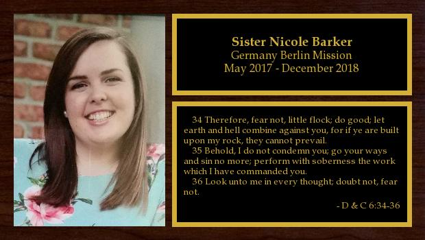 May 2017 to November 2018<br/>Sister Nicole Barker