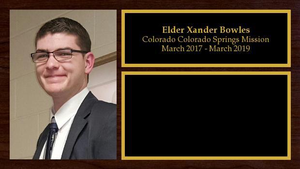 March 2017 to March 2019<br/>Elder Xander Bowles