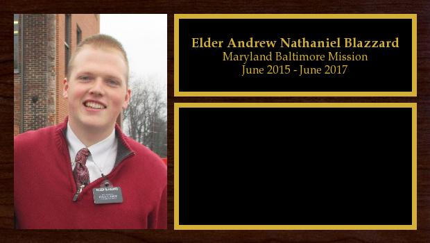 June 2015 to June 2017<br/>Elder Andrew Nathaniel Blazzard