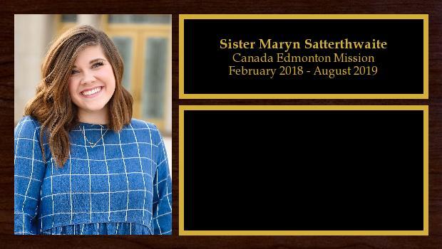 February 2018 to August 2019<br/>Sister Maryn Satterthwaite