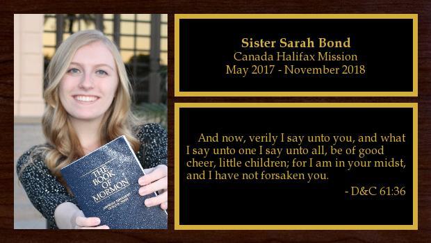 May 2017 to November 2018<br/>Sister Sarah Bond