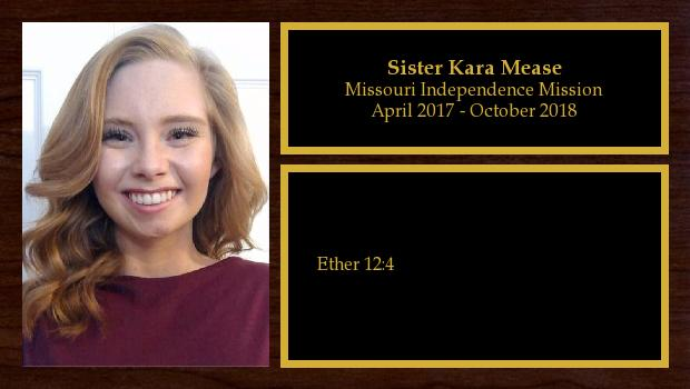 April 2017 to October 2018<br/>Sister Kara Mease