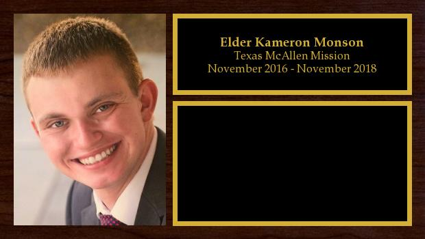 November 2016 to January 2019<br/>Elder Kameron Monson