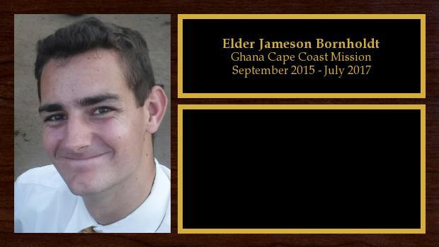 September 2015 to July 2017<br/>Elder Jameson Bornholdt