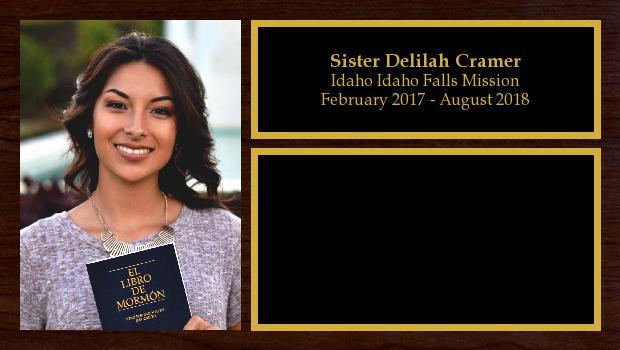 February 2017 to August 2018<br/>Sister Delilah Cramer