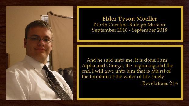 September 2016 to September 2018<br/>Elder Tyson Moeller