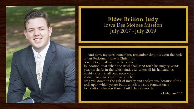 July 2017 to July 2019<br/>Elder Britton Judy