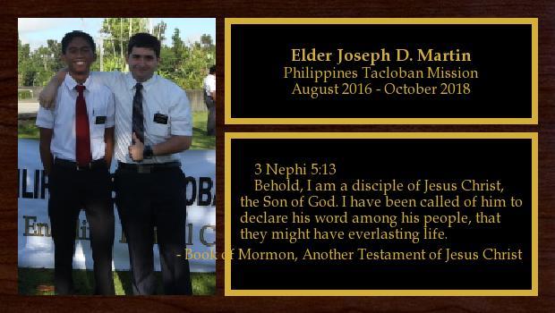 August 2016 to October 2018<br/>Elder Joseph D. Martin