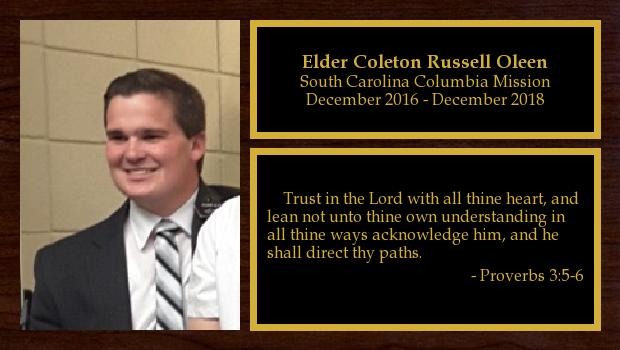 December 2016 to December 2018<br/>Elder Coleton Russell Oleen