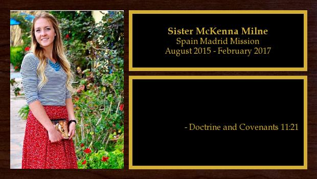 August 2015 to February 2017<br/>Sister McKenna Milne