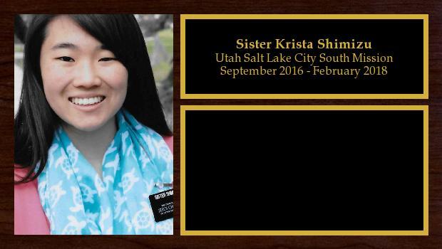 September 2016 to February 2018<br/>Sister Krista Shimizu