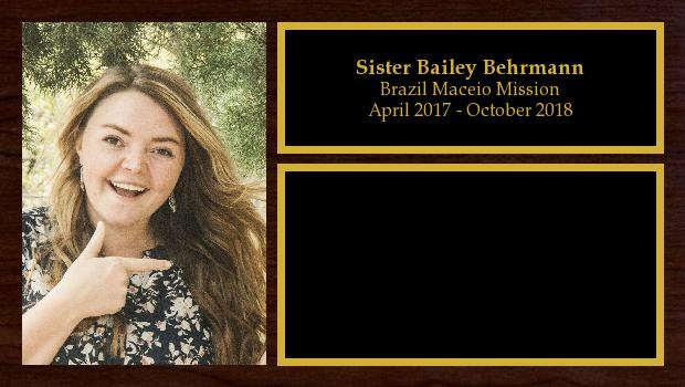 April 2017 to October 2018<br/>Sister Bailey Behrmann