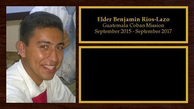 September 2015 to September 2017<br/>Elder Benjamin Rios-Lazo