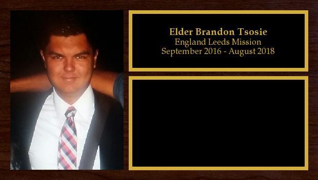 September 2016 to August 2018<br/>Elder Brandon Tsosie