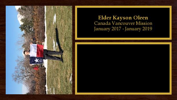 January 2017 to January 2019<br/>Elder Kayson Oleen